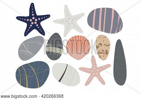 Beach Pebbles, Sea Star, Shell Set. Hand Drawn Various Shapes. Modern Illustration In Vector. Differ