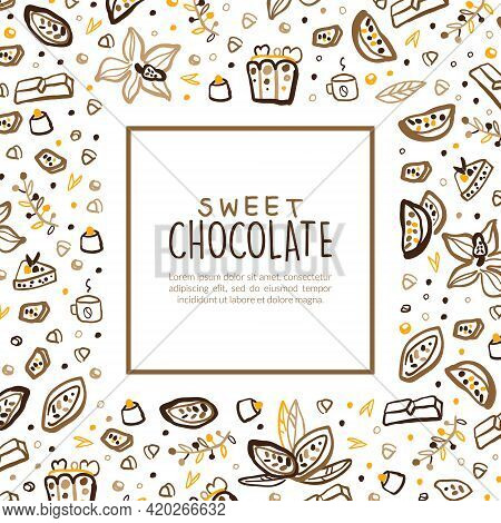 Sweet Chocolate Banner Template With Space For Text, Tasty Desserts Poster, Card, Flyer With Cocoa B