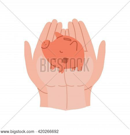 An Adult And Childrens Hands Are Holding A Piggy Bank. Childrens Finance And Savings. Financial Lite