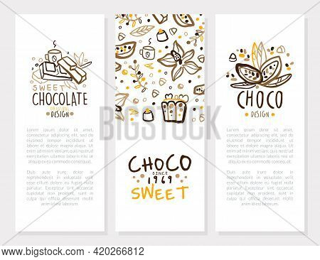 Sweet Chocolate Card Templates Original Design Set, Sweet Desserts Brochure, Booklet, Banner With Te
