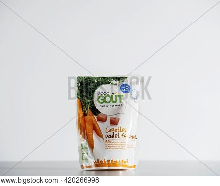 Paris, France - July 30, 2017: Isolated On White Background Package For Baby Food Manufactured By Fr