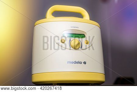 Paris, France - May 7 2021: Hero Object Of New Medela Made In Switzerland Pumps For Breastfeeding Mo