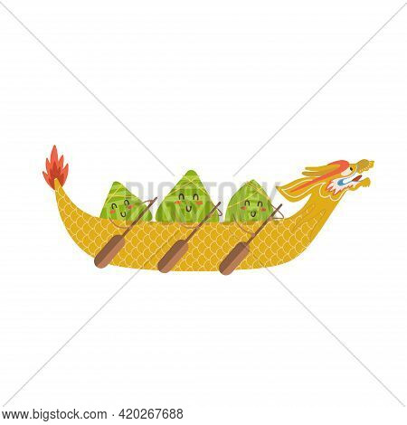 Kawaii Chinese Rice Dumplings Cartoon Characters With With Oars . Dragon Boat Festival Flat Vector I