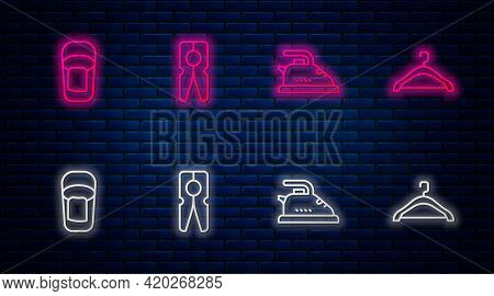 Set Line Clothes Pin, Electric Iron, Bucket With Rag And Hanger Wardrobe. Glowing Neon Icon On Brick