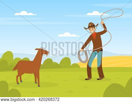 Cowboy Character Working On Farm, Male Farmer Following Goat With Lasso Vector Illustration