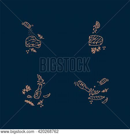 A Set Of Icons For The Sea Food Menu. Linear Illustrations Of Fish, Shrimp, Octopus, Clams, Crab, Sp