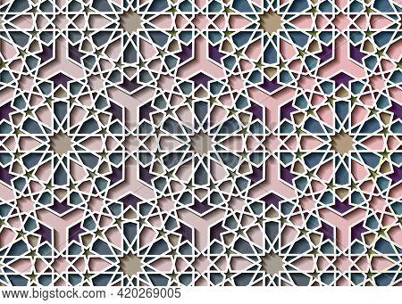 Colorful Islamic Pattern, Graphic Print Art Mosaic Persian Motif. Ramadan Banner Arabic Round Patter