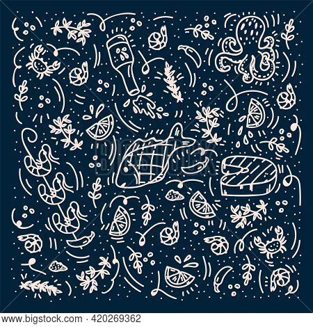 Background For The Seafood Menu. Linear Icons Of Fish, Shrimp, Octopus, Clams, Crab, Spices, Lemons