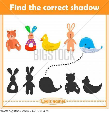 Find The Correct Shadow, Education Game For Children. Set Of Kids Toys Bear, Rabbit, Duck, Whale