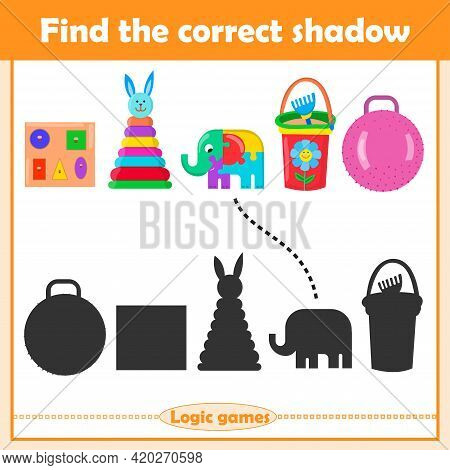 Find The Correct Shadow, Education Game For Children. Set Of Kids Toys Pyramid, Puzzle, Bucket, Ball