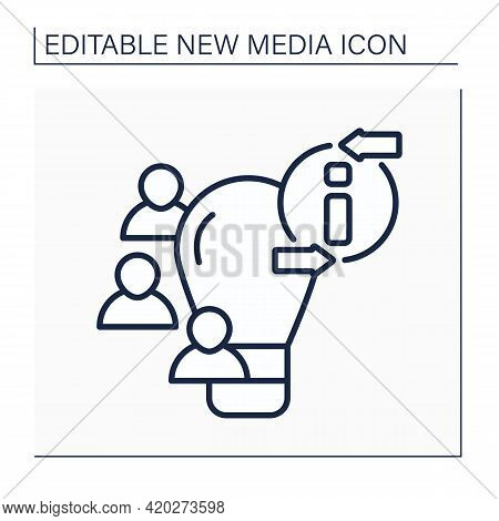 Crowdsourcing Line Icon. Sharing Ideas With Like-minded People. Discussion. Information, Opinions Fr
