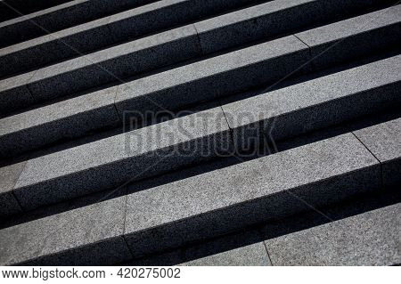Granite Steps. Granite Stairs Steps Background, Construction Detail. Ancient Stairs Granite Steps