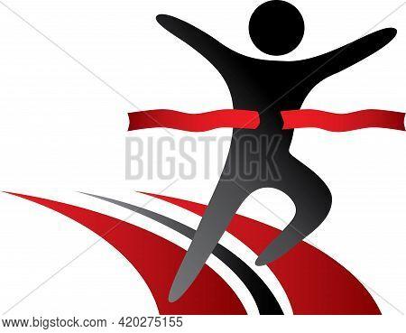Red And Black Running Marathon Race Logo Icon
