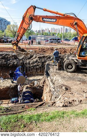 Samara, Russia - May 6, 2021: Repair And Replacement Of Underground Communications On The City Stree