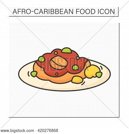 Oxtail Color Icon. Slow-cooked Meat As Stew, Braised. Traditional Dish. Afro-caribbean Food.local Fo