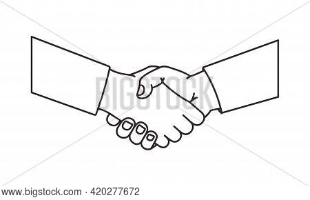 Handshake Vector Line Icon, Black Outline Agreement Symbol, Shake Hand. Business Illustration