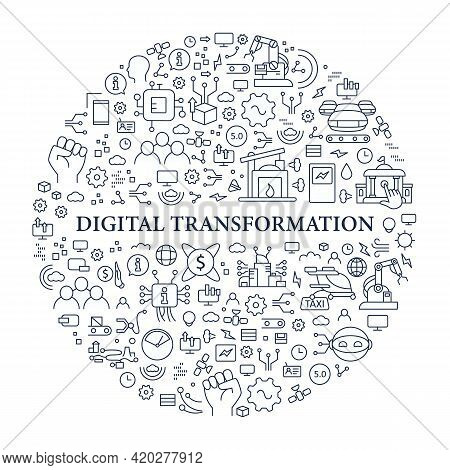 Digital Transformation Circle Poster. Modern Technologies. Digitalization. Future. Digital Revolutio