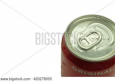 Warsaw, Poland - April 26, 2021: Can Of Coca-cola On A White Background. Copy Space For Text. Water
