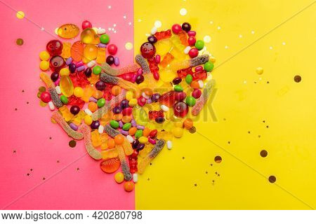 The Layout Of The Heart Of Candy . Sweets. Lots Of Candy. Valentine's Day. Love. Sweet Love. Copy Sp