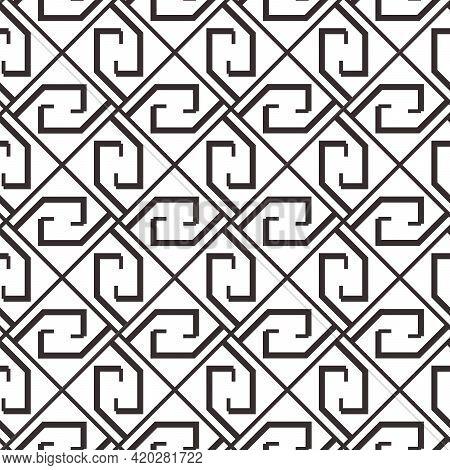 Greek Key Seamless Pattern, Vector Geometric Background, Black And White Meander Ornament, Roman Lin