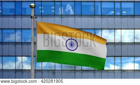 3D Illustration Indian Flag Waving In A Modern Skyscraper City. Beautiful Tall Tower With India Bann