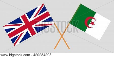 Crossed Flags Of Algeria And The Uk