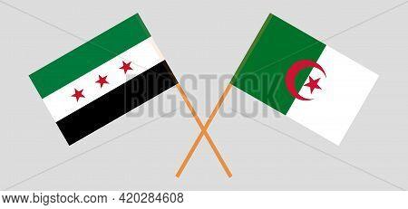 Crossed Flags Of Algeria And Interim Government Of Syria