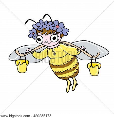 Cartoon Flying Cute Dressed Bee Carrying Buckets Of Honey. Organic Food. Hand Drawn Vector Doodle Il