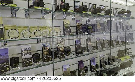 Camera Showcase For Nikon Camera In Bangkok, Thailand - June 29, 2020,  The Clear Glass Enclosure Di