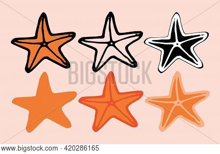 Doodle Starfish In Hand Drawn Style . Vector Illustration Design. A Set Of Isolated Starfish Element