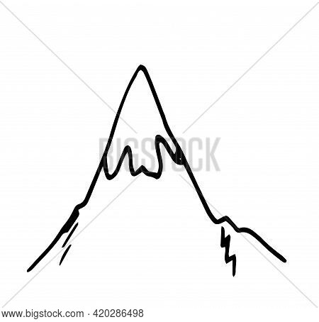 Sketch Doodle Mountains For Banner Design. Vector Isolated Polygonal Mountain Top With Ice At The To