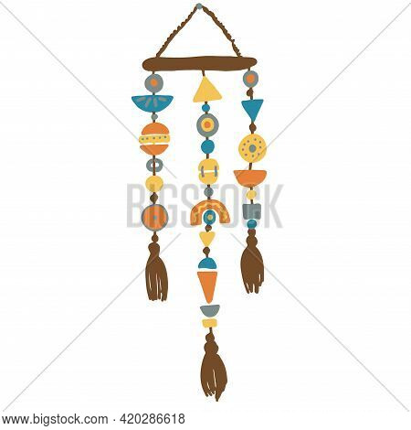 Wicker Wall Decoration, Wall Panel, Garland, Boho Style, Necklace, Solid Color Element, Isolated On