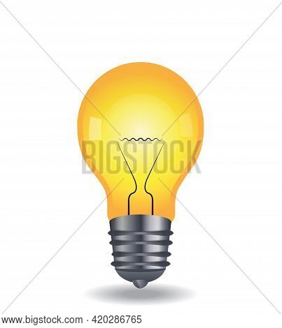 Vector Light Bulb. Energy And Idea Symbol. Decoration For Greeting Card. The Light Bulb Is Full Of I