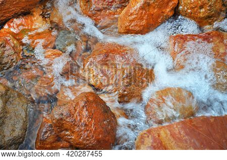 Natural Source Of Mineral Curative Water Narzan In The Elbrus Region, Kabardino-balkarian Republic,