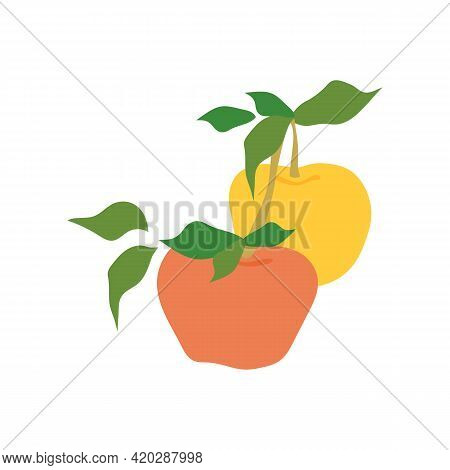 Fruit Apple Branch. Stock Vector Illustration Isolated On White Background. Two Apples Hanging On Br