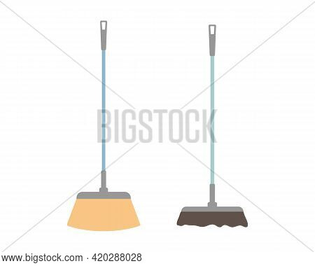 Two Kinds Of Floor Broom. Set Cleaning Brush, Mop. Sweep The Floor, Road, Inside And Outside. Cleani