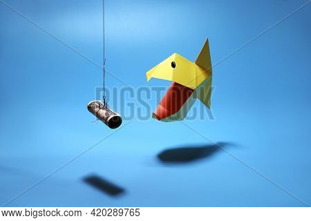 Concept Of Greed To Rapid Loan, Business And Finance. Piranha Pecks On Hook With Bait Dollar. Origam