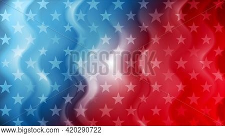 USA flag colors and stars abstract wavy american background