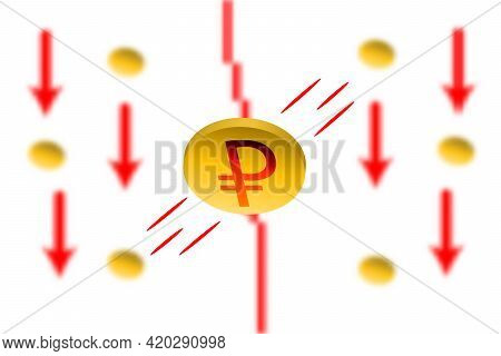Ruble Fall. Red Arrow Down With Gaussian Blur Effect Background. Ruble Market Crash. Red Chart Down