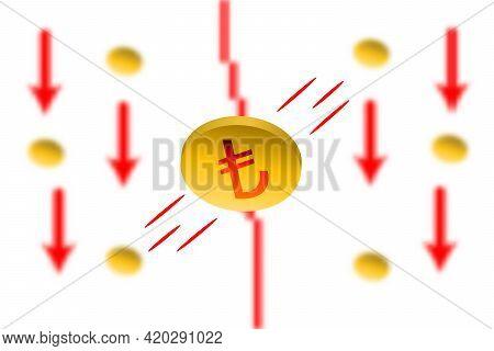 Turkish Lira Fall. Red Arrow Down With Gaussian Blur Effect Background. Turkish Lira Market Crash. R