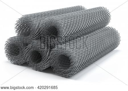 Coils of steel wire. Rabitz mesh netting rolls isolated on white. 3d illustration