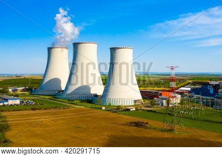 Coal power plant Prunerov in Northern Bohemia, Czech Republic. Aerial view to last big source of emissions in European Union.