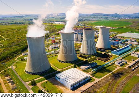 Coal power plant Tusimice in Northern Bohemia, Czech Republic. Aerial view to last big source of emissions in European Union.