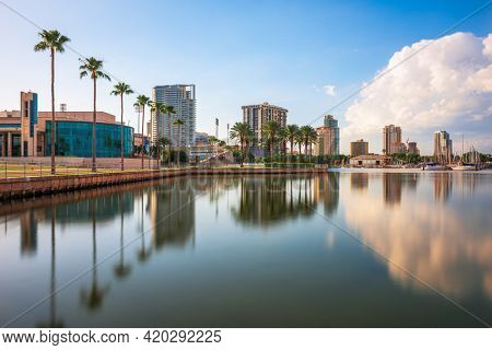St. Petersburg, Florida, USA skyline along the bay in the afternoon.
