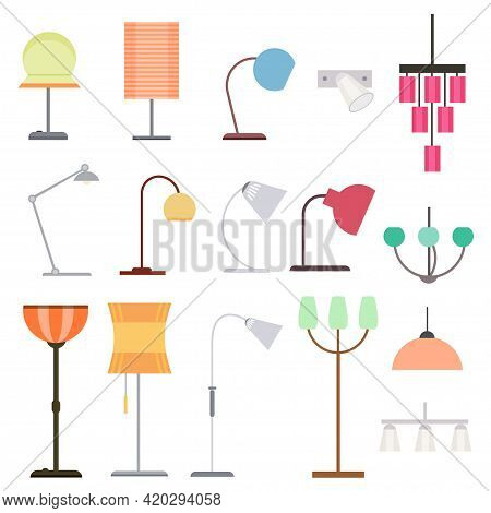 Colorful Indoor Lights Collection With Different Kinds Of Floor Table Lamps And Hanging Chandeliers