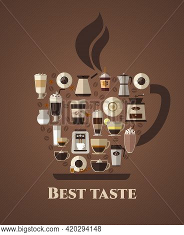 Coffee Best Taste Poster. Latte And Takeaway, Mocha And Coffeshop, Americano And Cappuccino, Espress