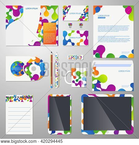 Corporate Identity Vector Template With Colored Molecular Structure. Template Corporate Branding, Co