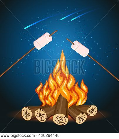 Bonfire With Marshmallow, Camping Grill Marshmallow Vector Illustration. Marshmallow Outdoor, Campfi