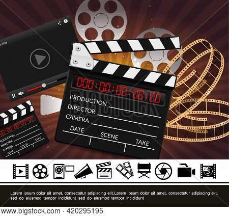 Colorful Cinema Template With Realistic Clapperboard Film Reels Strip On Radial Background And Flat