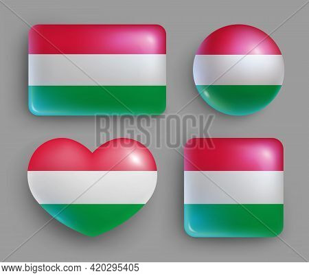 Glossy Buttons With Hungary Country Flags Set. European Country National Flag Shiny Badges Of Differ